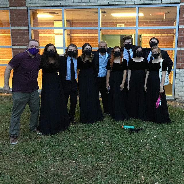 Some Chorale members with Mr. Palombo after UIL recording 2021.